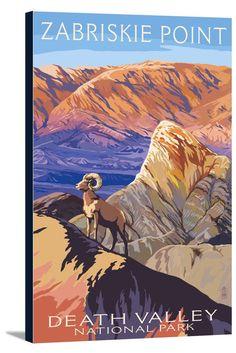 Canvas (Death Valley National Park, California - Zabriskie Point & Bighorns - Lantern Press Artwork)