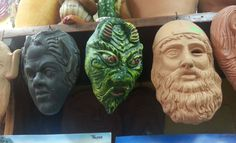 Typical local pottery with magic, esoteric and mythological masks in TROPEA. The best gift to hang on your home's walls! Indulge in Tropea, Indulge in Italy!