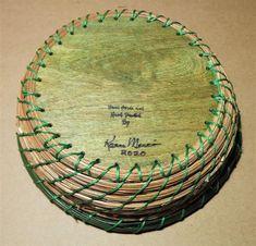 Pine Needle Basket Dragonfly by Karen Mercier   Etsy Wooden Basket, Wooden Pegs, Macaron Cookies, Pine Needle Baskets, Cribbage Board, Pine Needles, Hand Painted, Artwork, Crafts