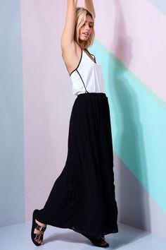23050f2a320 Lovemystyle Black Pleated Maxi Skirt With Chiffon Overlay