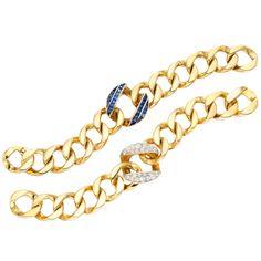 Seaman Schepps Pair of Curb Link Bracelets | From a unique collection of vintage link bracelets at https://www.1stdibs.com/jewelry/bracelets/link-bracelets/