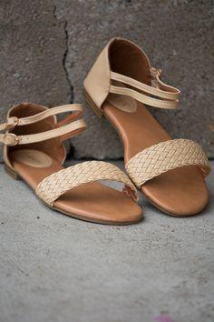 Tan Woven Sandals shopbelleboutique.com