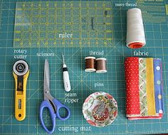 Basic Quilting Supplies Choosing Fabric 101 How to work with quilt patterns Rotary Cutting 101 Piecing a Quilt 101 Adding borders 101 (Quick method) Batting 101 Introduction to Quilting 101 Machine Quilt Binding 101 Bias Binding 101 Quilting 101, Quilting For Beginners, Quilting Tutorials, Machine Quilting, Quilting Projects, Sewing Tutorials, Sewing Projects, Dress Tutorials, Quilting Ideas