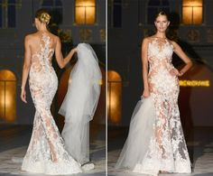 """Karolina Kurkova dazzled in a sheer embellished wedding dress during a bridal fashion show in Barcelona on May 9, 2014. While it would take a daring bride to say """"I Do"""" in such a revealing frock, the Czech supermodel wore it effortlessly on the runway."""