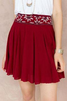 Laurel Embellished Skirt - burg-cl