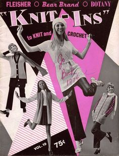 """""""KNIT-INS """" Fleisher Bear Brand Botany Volume 19 copyright date 1969 by Bernhard Ulmann Company 24 pages, including front and back covers softcover book, 8-1/2"""" x 11""""  Contains patterns and instructions for 10 Mod fashions from the 1950s. One design is crocheted; the others are knitted. Includes a young Cheryl Tiegs as one of the models. #BearBrandFleisherBotany #VintagePatternBook"""