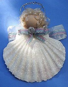 Shell Angel Ornament, Christmas Tree Ornament Crafts met gratis uitleg, de schelpen en de kraal heb ik al