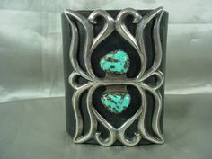 "Old Large 1960's Gorgeous Navajo Cast Sterling Silver & Turquoise on Leather Traditional Bow Guard or ""Ketoh"" !!!!"
