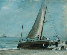 'Brighton Beach with Fishing Boat and Crew' by John Constable