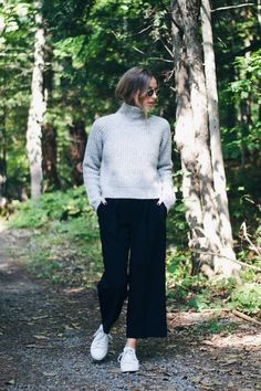 fall street style, grey turtleneck, culottes, stan smith