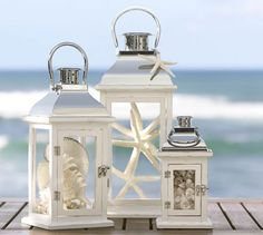 Bristol Lantern (white painted pinewood with glass panes; available in four sizes: small, medium, large and x large [not pictured here]) (Pottery Barn)
