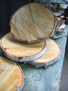 Birch slices to go under mason jars or whatever center piece (flowers and twigs with small candles around ..? )