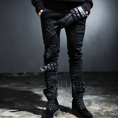 ByTheR-Mens-Fashion-Twisted-Synthetic-Leather-Belt-Detail-Slim-Comfy-Pants-CA
