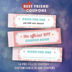 best friend coupons single girlfriend gifts by printablepineapple printablecoupons bff gift