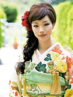 green Kimono and her hair is lovely