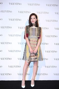 Liu Shi Shi in a Valentino Fall/Winter 2015-16 total look at the Opening of our Shanghai IFC boutique on October 4th, 2015.