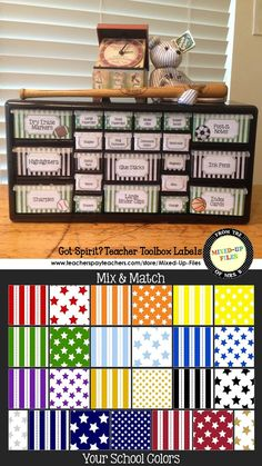 This classroom organizer teacher toolkit will keep your desk and teacher area looking cute!  Labels are sized to use with Lowe's 22-drawer plastic storage cabinet and include labels for common classroom teacher supplies.  Mix and match colors and patterns to create a teacher toolbox that matches your school's team colors perfectly. Got spirit? Show it! -- from Mixed-Up Files ($)