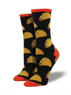Fun and festive taco socks by Socksmith. Product Details - Available in black - Toe Seam - Sizing: Sock size 9-11 will fit a women's shoe size 6-10 - 1 pair included per order - Fiber Content: 63% Cot