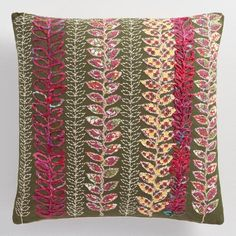 One of my favorite discoveries at WorldMarket.com: Olive Embroidered Vine Throw Pillow