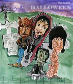 The Rare Beatles Halloween Album: John Lennon, Paul McCartney, George Harrison and Ringo Starr. Beatles Caricatures. #beatles #beatlescaricature #halloween
