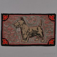 Figural Wool Hooked Rug with Scottish Terrier