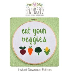 Eat Your Veggies Cross Stitch Pattern Instant por Sewingseed