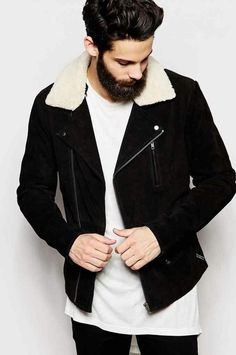 Mens winter jacket 2016 shearling black and white