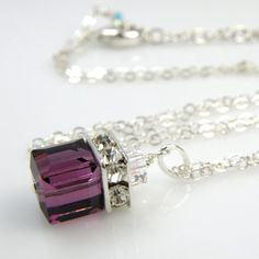 Purple Necklace Amethyst Swarovski Cube Plum Crystal by fineheart, $36.00