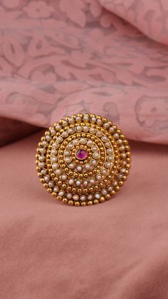 Pandora Jewelry OFF!> Glorious ring of pearls embellished with gold granules Gold Jhumka Earrings, Jewelry Design Earrings, Gold Earrings Designs, Fancy Jewellery, Gold Jewellery Design, Gold Jewelry Simple, Stylish Jewelry, Gold Ring Indian, Gold Finger Rings
