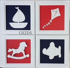 QUADRO TOYS Quadro decoração quarto de bebê, kit quadros toys, azul marinho, vermelho, enfeite de quarto, gkids #nursery #baby #cute  www.gkids.com.br
