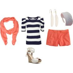 Coral Short and Scarf, Navy bllue and white Stripped Shirt,