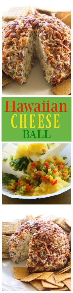 Cheese Ball - a cream cheese ball with crushed pineapple, green onions, and bell pepper. This is such a crowd pleaser.Hawaiian Cheese Ball - a cream cheese ball with crushed pineapple, green onions, and bell pepper. This is such a crowd pleaser. Appetizers For A Crowd, Appetizers For Party, Appetizer Recipes, Tailgate Appetizers, Tapas, Cheese Ball Recipes, Party Snacks, Party Dips, Appetisers