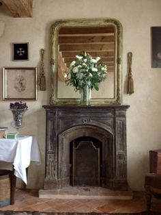 French Country Home : Photo French Cottage Decor, French Country Farmhouse, French Country Style, French Decor, French Country Decorating, French Country Fireplace, Cottage Fireplace, Romantic Cottage, Romantic Homes