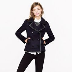 Collection leather-trim peacoat
