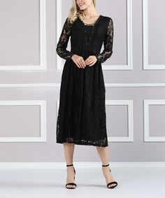 Love this Black Lace Overlay Lace-Up Midi Dress - Plus Too on #zulily! #zulilyfinds