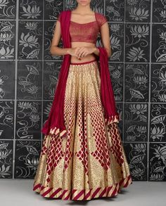 Red and gold bridal lehenga. Rohit Bal. RTW S/S 15'. Indian Couture. Indian wedding outfit