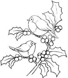 Magenta Cling Stamp - Christmas Holly Birds
