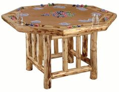 Poker Table Wood Rustic Lodgepole Pine Log Cabin Country Casino Cards Man Cave