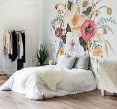 """etsyftw: """"Honey Bloom Mural - Large Floral Bouquet Wallpaper by anewalldecor """" Mural Floral, Flower Mural, Prepasted Wallpaper, Wall Wallpaper, Temporary Wallpaper, Make Your Bed, Traditional Wallpaper, Photo Wall Collage, Large Flowers"""