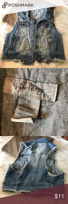 Girls M (7/8) denim jean vest Girls M denim vest with embellishments. Good condition! kiss pery Jackets & Coats Vests
