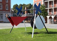 Design duo Isabel + Helen is exhibiting a swing made from large geometric shapes as part of Chelsea 10, an alumni exhibition celebrating 10 years of Chelsea College of Arts.