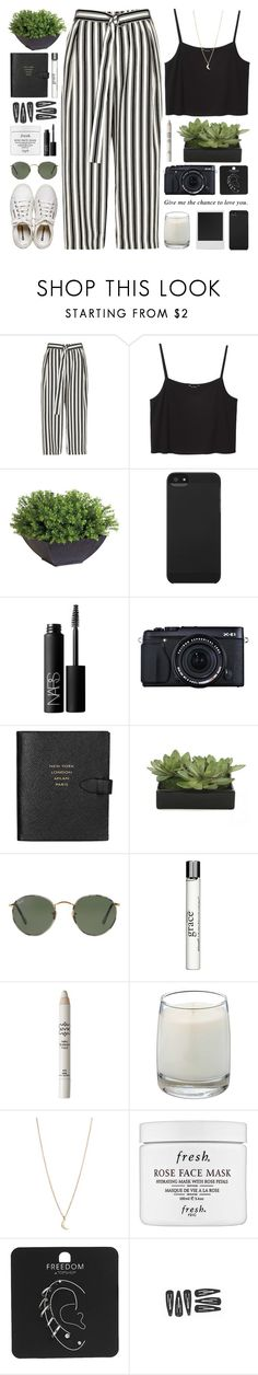 """""""give me the chance to love you."""" by indie-by-heart ❤ liked on Polyvore featuring River Island, Monki, Ethan Allen, Incase, NARS Cosmetics, Fujifilm, Smythson, Lux-Art Silks, Polaroid and Ray-Ban"""