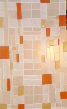 Ann Symes  Korean pojagi style cloth  cream muslin, henna dyed cotton, white linen, orange linen, onion skin dyed cotton.
