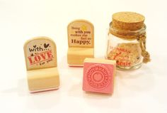 Kit com 3 carimbos Funny Vintage - With Love - A. Craft