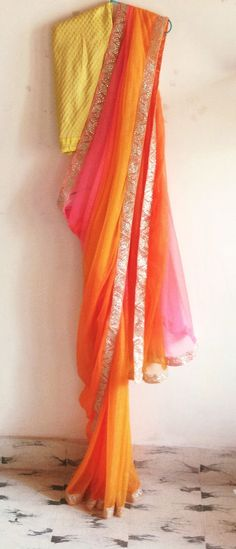 Multicolor chiffon saree with brocade by GiaExquisiteIndian