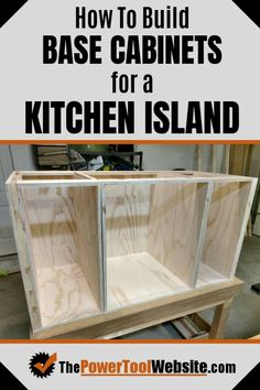 See how to build base cabinets for a stand alone project. My cabinets are for a kitchen island. All required beginner woodworking concepts are explained in detail with lots of pictures. diy for beginners plans tips tools Easy Woodworking Projects, Woodworking Furniture, Diy Wood Projects, Furniture Plans, Woodworking Shop, Woodworking Plans, Diy Furniture, Wood Crafts, Woodworking Techniques
