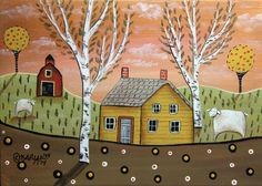 Sheep Barn 5x7 inch Canvas Panel ORIG Landscape PAINTING PRIM FOLK ART Karla G..new painting for sale... #FolkArtAbstractPrimitiveLandscape