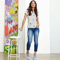 Closet Lit: Blusa Tee e Jeans Capri