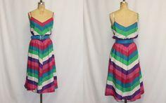 Extra Large Vintage Dress XL Rainbow Chevron by SIZEisJUSTaNUMBER, $59.00