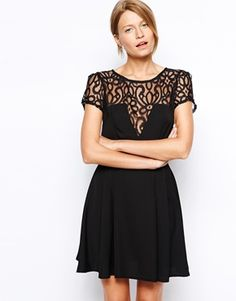 Love Skater Dress with Lace detail and Box Pleat Skirt - Plunging bodices are super glam, especially when they're mixed with a-bit of lace. http://asos.to/VFwKB7